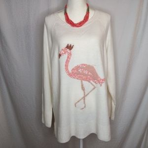 LAUREN CONRAD Ivory Sequined Flamingo Sweater XL